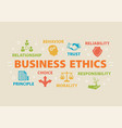 business ethics concept with icons vector image vector image