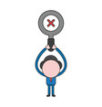 businessman character holding up magnifying glass vector image vector image