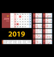 calendar 2019 red set week starts on sunday basic vector image vector image