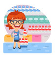 cartoon girl seller with goods vector image vector image
