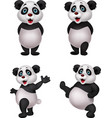 cartoon panda collection set vector image vector image