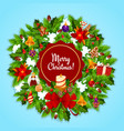 christmas wreath and candle for xmas greeting card vector image vector image