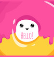 cute hello card with donut vector image