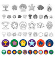 different explosions flat icons in set collection vector image vector image