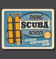 diving school sea scuba active recreation club vector image
