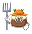 farmer fruit cake character cartoon vector image