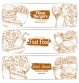 Fast food dishes with drinks and dessert banner vector image vector image