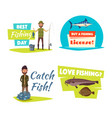 fishing sport and hobby cartoon icon set design vector image