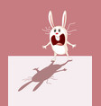 funny bunny being scared his own shadow cartoon vector image vector image