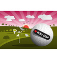 Golf Ball on Field with Sun and Sky and Hear vector image vector image