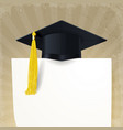 graduate cap with a gold tassel and diploma vector image vector image