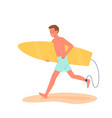 happy surfer runs with surfboard on tropical beach vector image vector image