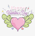 happy valentine day with heart and leaves vector image vector image