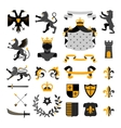 Heraldic Symbols Emblems Collection Black Yellow vector image