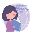 international literacy day knowledge girl reading vector image vector image