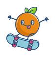 kawaii orange on skateboard cartoon vector image