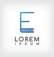 letter e line minimal book logo design template vector image