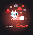 love cat with heart vector image vector image