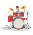 musician playing drums vector image vector image