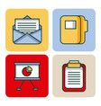 office set icons equipment supplies work vector image vector image