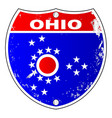 ohio flag icons as interstate sign vector image