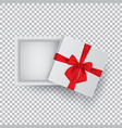 open gift box with a red bow isolated on a vector image vector image