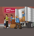 people packing up donation boxes vector image vector image