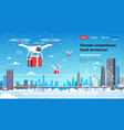 quadcopter drone gift box present delivery service vector image