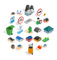regional center icons set isometric style vector image vector image