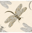 Seamless pattern with dragonfly on a tender vector image vector image