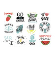 set of 12 summer logo with hand lettering hot time vector image