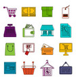 shopping icons doodle set vector image
