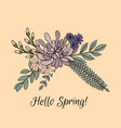 spring greeting card with flower arrangement vector image vector image