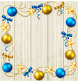 Stars and blue and yellow baubles vector image