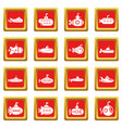submarine icons set red square vector image vector image