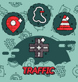 traffic flat concept icons vector image vector image