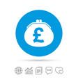 wallet pound sign icon cash bag symbol vector image