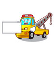 with board cartoon tow truck isolated on rope vector image vector image