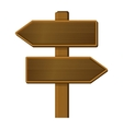 Wooden Arrow Sign Signpost on White Background vector image vector image