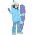 young girl with snowboard vector image