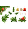 christmas branch and ball set vector image