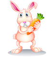 A fat bunny holding a carrot vector image vector image