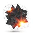 Abstract low poly black object with grid and fire vector image