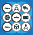 automobile icons set collection of wheel lorry vector image vector image