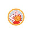 Basketball Player With Ball Circle Retro vector image