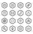 black line web icon set hexagon vector image vector image