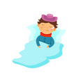 boy lying under the blanket with ice pack on his vector image