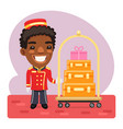 cartoon porter with luggage vector image
