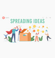 characters spread knowledge and ideas landing page vector image vector image