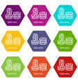 coin icons set 9 vector image